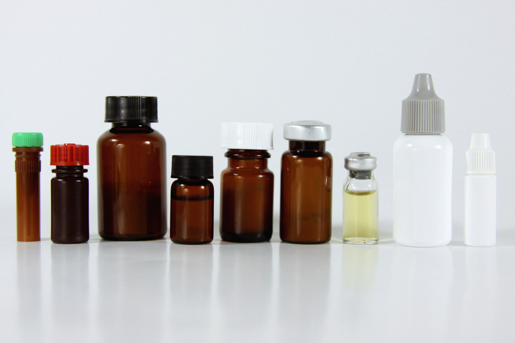 amber, clear and white vials used to package quality control materials